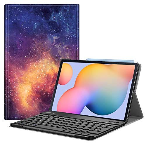 Fintie Funda con Teclado Español Ñ para Samsung Galaxy Tab S6 Lite 10.4' 2020 (SM-P610/P615) - Carcasa con [Bolsillo para S Pen] y Teclado Bluetooth Inalámbrico Magnético Desmontable, Galaxia