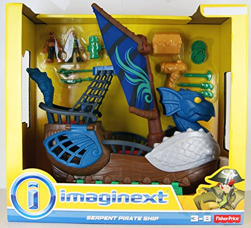 Fisher-Price Serpent Pirate Ship - Blau - mit 2 Figuren und Extras