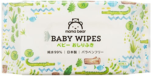 【おしりふき 】Mama Bear (ママベアー) ベビー おしりふき 純水 99% 80枚入×20個 (1600枚) [ケース品] [Amazonブランド] 日本製 パラベンフリー