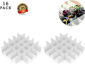 ShineMe Drawer Divider Sock Storage DIY Plastic Drawer Dividers Household Storage Thickening Housing Spacer Sub-Grid Finishing Shelves for Home Tidy Closet Stationary Makeup Socks Organizer (16pcs)