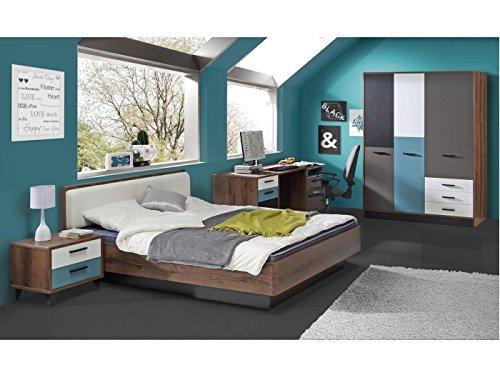 Jugendzimmer Raven Komplett Verschiedene Ausführungen Kinderzimmer Möbel (Zimmer Raven 4tlg 140er Bett, Drehtürenschrank)