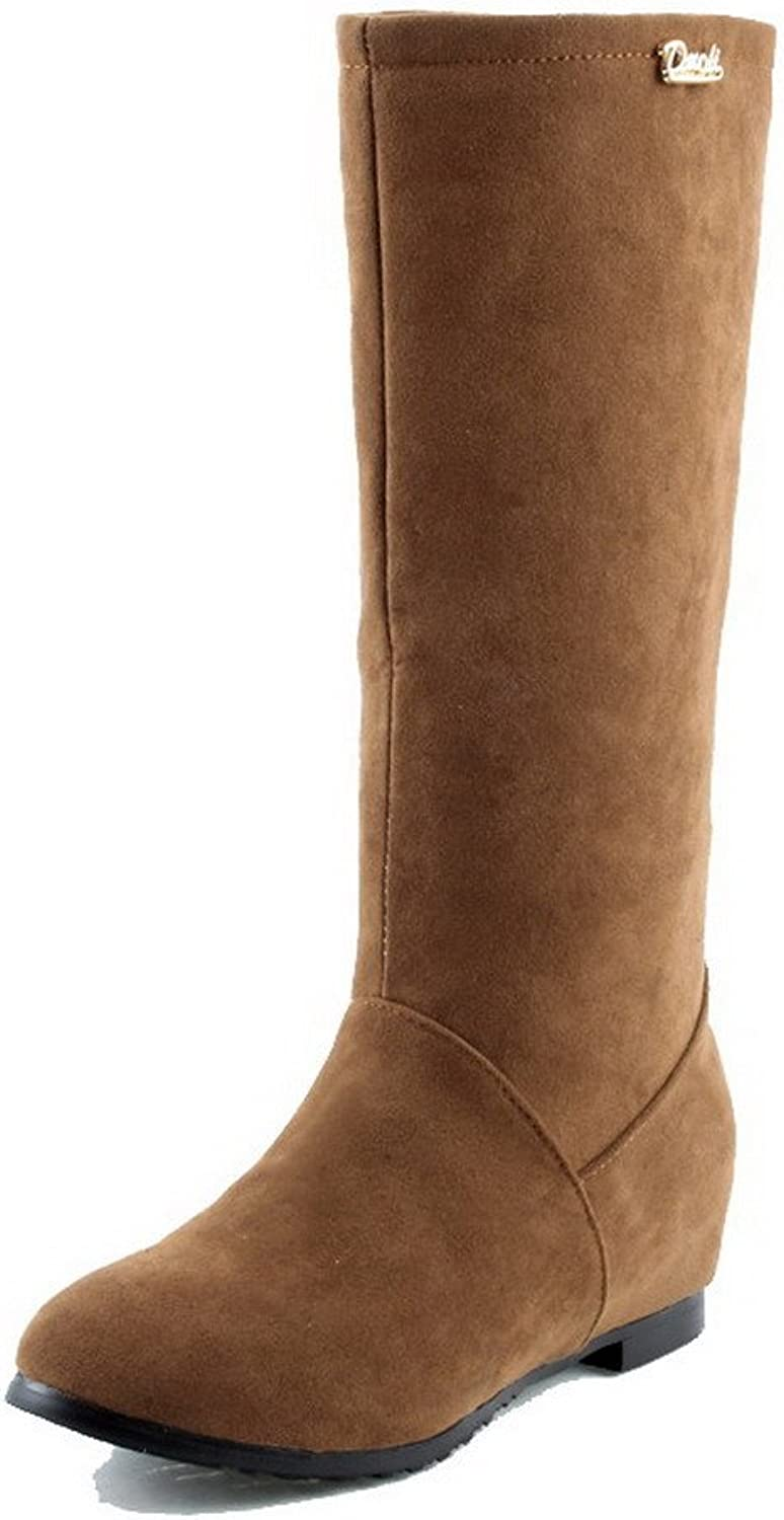 WeenFashion Women's Solid Imitated Suede Low Heels Pull-On Round Closed Toe Boots