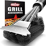 GRILLART Grill Brush and Scraper with Deluxe Handle - Safe Stainless Steel Wire Grill Brush for Gas Infrared Charcoal Porcelain Grills - BBQ Cleaning Brush for Grill Grate Cleaner