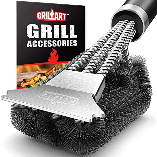 GRILLART Grill Brush and Scraper with Deluxe Handle - Safe Stainless Steel Wire Grill Brush for Gas Infrared Charcoal Porcelain Grills - Best Gift BBQ Cleaning Brush for Grill Wizard Grate Cleaner