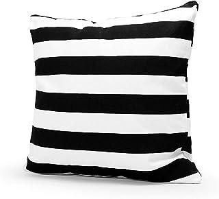 Cvthfyk Cojines Negro de la Cubierta y Negro Rayas Almohada Moderna de Lino Cojín Almohada del sofá del Dormitorio de Coches Decoración 45 * 45cm Colorido