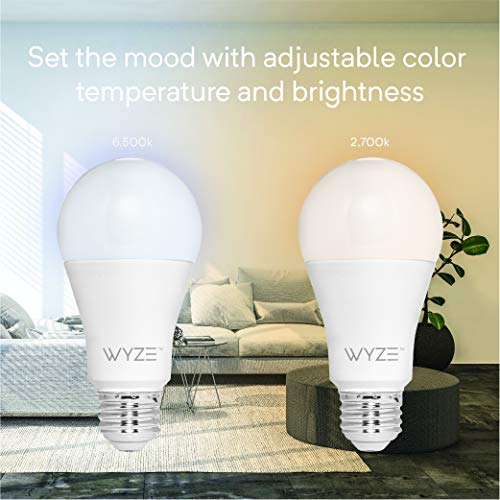 Wyze Labs WLPA19-4 800 Lumen A19 LED Smart Home Light Bulb, Adjustable white temperature and brightness, works with Alexa and the Google Assistant, 4-Pack, 4 Count