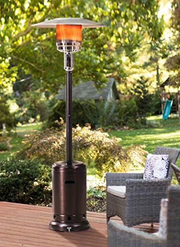 """Sunjoy Lawrence Floor-Standing Patio Heater, 88"""", Bronze Hammered Finished"""