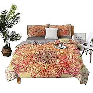 DRAGON VINES Four-Piece Bedding Cotton Bed Sheets Queen QueenSizeBed Magical Spiritual Hand Drawn Bloom with Swirled Petals Oriental Retro Pink Yellow Burgundy Bed Sheets King Size Deep Pocket
