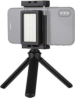 Mobile Phone Live Set Pocket Self-Timer Fill Light Phone Clamp Bracket Mount Desktop Tripod (Black) Durable (Color : Black)