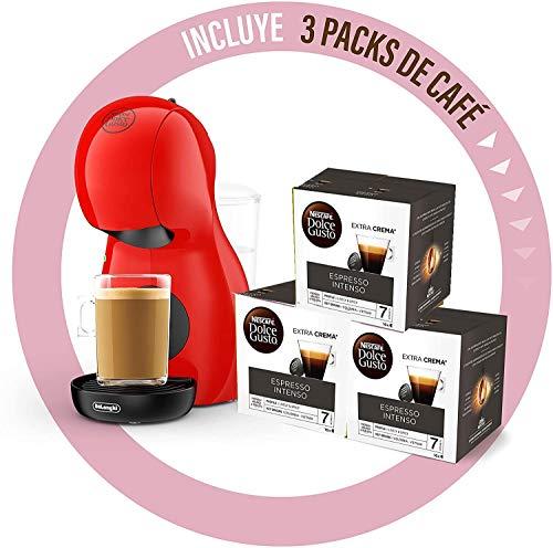 Krups Dolce Gusto Piccolo XS • Cafetera manual 15 bar • Cafetera espresso y otras bebidas + 48 cápsulas + 10 € en buen regalo (rojo + 48 cápsulas INTENSO)