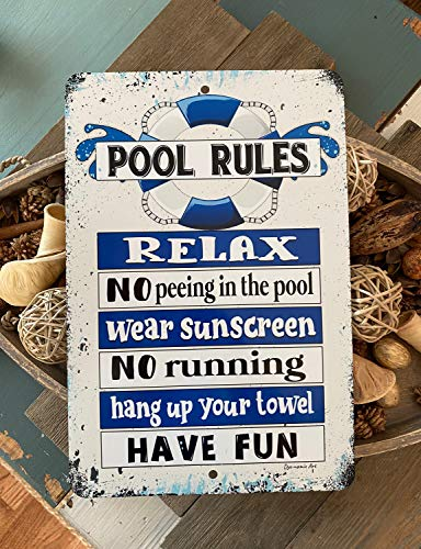 Yohoba Pool Rules No Peeing in The Pool Metal Sign Swimming Pool Sign Outdoor Decor Pool Decor Pool Sign Blue Float 12''x18''