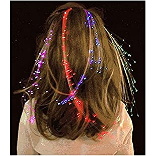 Ultra 50 x Colour Changing Multi Coloured Light Up Fibre Optic Hair Clip Clip LED Hair Extensions Sets of Fiber LED Hair Extensions Light up Hair Battery Powered Extensions for Women Girls Optical Fibre Perfect for Parties Favours Gift Bags