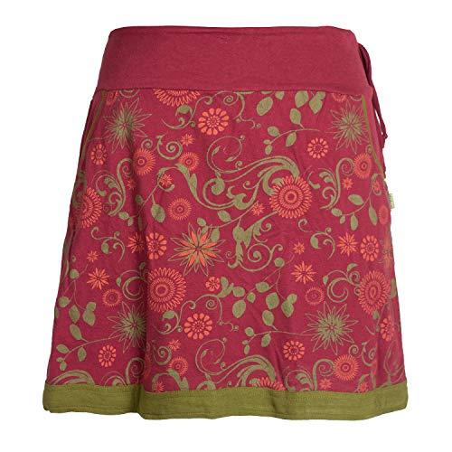 Vishes - Alternative Bekleidung - Damen Lagen-Look Blumen-Rock mit Mandalas und Tribals Bedruckt dunkelrot 44