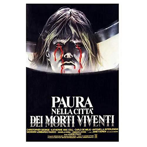 KONGQTE Film Horror Classico Paura nella Città dei Morti viventi (1980) Film Cover Art Poster Canvas Painting Home Decor Poster ad Alta Definizione Soggiorno-20x30 Pollici Senza Cornice