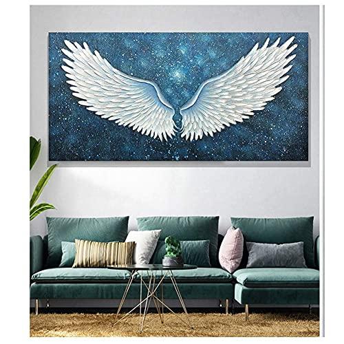 DIY 5D Diamond Painting Set completo de cuadro de alas de ángel de diamante pintura por números, kit de punto de cruz, lienzo bordado, arte, manualidades, decoración de pared, regalo, 60 x 120 cm