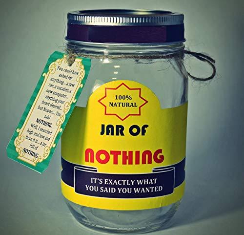 Best Gag Gift - Jar of Nothing | White Elephant Gift | Funny Gift for Boyfriend | Gift for Girlfriend | Gift for Men | Gift for Women | Gift for Friend | Birthday Gift | Christmas Gift | Jar Size 16oz