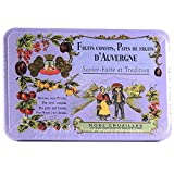 "Imported from France, these small charming, decorative french ""pails"" contain small fancy fruit jellies candies (Pates de Fruits dAuvergne) in flavors of strawberry, blackberry, and blueberries. Each Cruzilles signature, reusable metal decorative tin..."