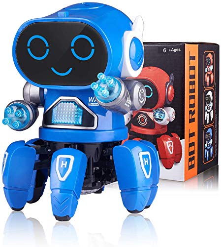 Marsjoy Blue Musical Baby Toys Dancing Walking Robot for Boys & Girls Kids or Toddlers Aged 6+ with Music and LED Colorful Flashing Lights Dancing Singing Baby Shower