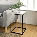Eden Bridge Designs Modern Industrial Square Side Table / End Table / Nightstand for Living Room or Bedroom - White Marble, Laminate/ Faux Marble