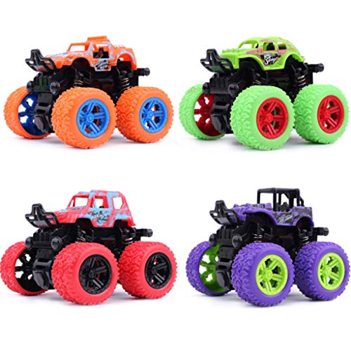 Glzcyoo Monster Trucks for Les garçons 2-7 Ans - Enfants Mini Push & Go Car Camion Playset (4-Pack) - âgés de 2, 3, 4, 5, 6, 7 Ans Cadeaux for Les garçons Cadeau d'anniversaire