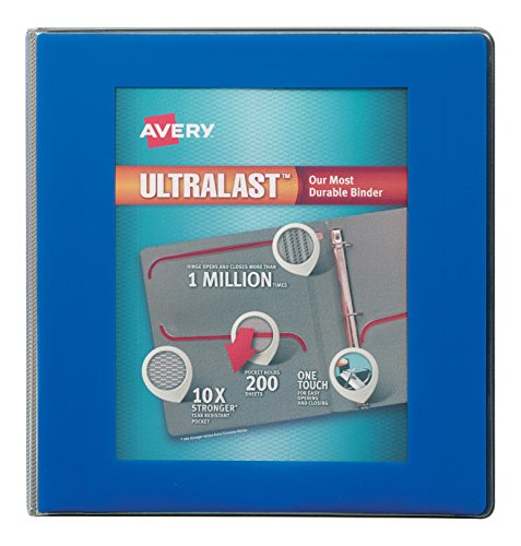 Avery Ultralast Heavy Duty View Binders with One Touch Slant Rings, 1-1/2 Ring, Color Will Vary, 1 Binder (79738)