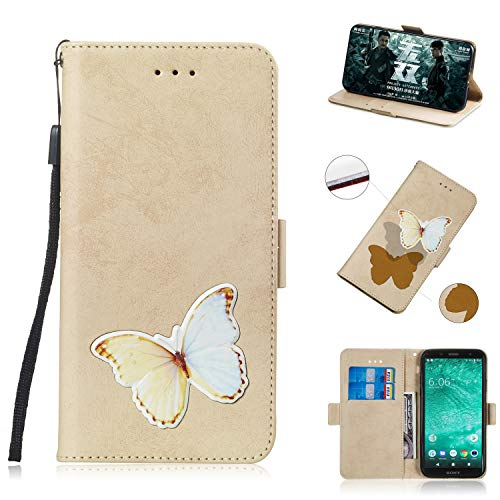 Clamshell Case Tasche Case Cases Magnetic Locked [Standfunktion] Schutzhülle Handyhülle für (Sony Xperia XZ2 Compact) (Gold)