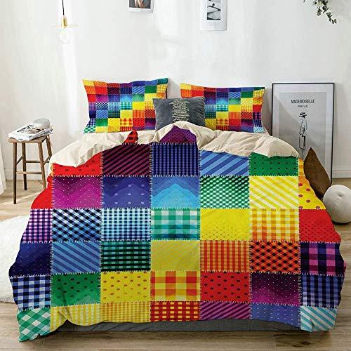 Juego de funda nórdica Beige, color arcoíris, cuadrados, diversos patrones con formas diagonales, geométricos, decorativos Juego de cama de 3 piezas con 2 fundas de almohada Fácil cuidado Anti-alérgic