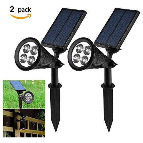 Lumières solaires, NEWSTYLE 2-Pack projecteur alimenté par solaire Lumière de sécurité réglable 4 LED 200 Lumens 2 en 1 Usage Auto-on/Auto-off Lumière de la Nuit Rechargeable pour Jardin/ Piscine/Etang/Patio/Terrasse/Cour/Accueil/Allée/Mur