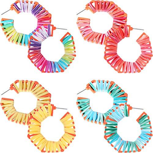 4 Pares Pendientes de Rafia Arcoiris Pendientes Coloridos de Ratán Pendientes Llamativos de Aro Geométricos Hechos a Mano para Favores Mujeres Niñas