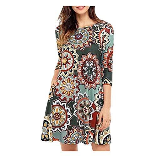 Vestido floral bohemio para mujer, vestido de manga larga con estampado casual, gris, X-Large