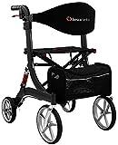 Besco Medical Faltbarer Leichtgewicht-Rollator Spring, Gr. M, aus Aluminium, klappbar, mit Federung, kompletter Ausstattung und großer Sitzfläche -