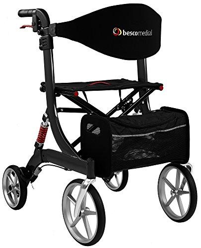 Besco Medical Faltbarer Leichtgewicht-Rollator Spring, Gr. M, aus Aluminium, klappbar, mit Federung, kompletter Ausstattung und großer Sitzfläche