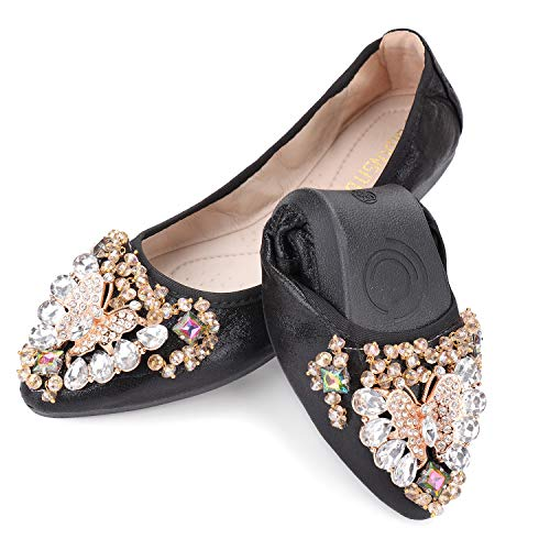 Anxle Womens Foldable Ballet Flats Bling Rhinestone Pointed Toe Comfort Slip On Loafers Bridal Dress Shoes Black, 9