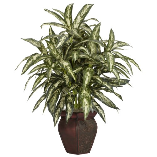 Nearly Natural 6673 30in. Aglaonema with Decorative Vase Silk Plant,Green,7.5 x 9 x 30