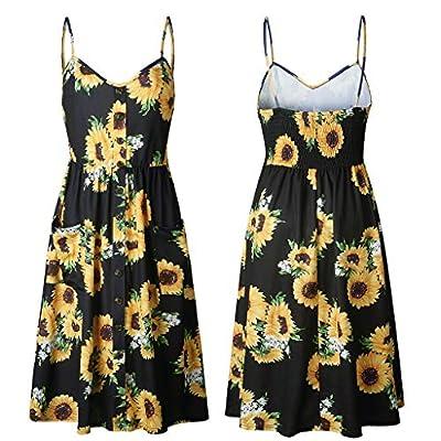 W-Fight HOT Womens Holiday Strappy Button Pocket Ladies Summer Beach Midi Swing Sun Dress