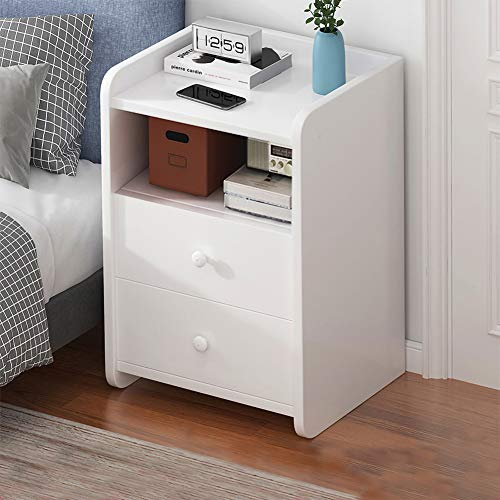 Nightstand with Drawers,Bedside Table with Drawer,Bedside Cupboard,Bedside Cabinets,Small Spaces Side End Table (White-2Drawer)