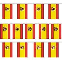Guirlande de fanions - 12 drapeaux espagnols aux couleurs patriotiques de l'Espagne, rouge et jaune avec une guirlande de fanions. Qualité supérieure: en nylon de qualité supérieure, imperméable et facile à nettoyer. Idéal également pour les fêtes e...