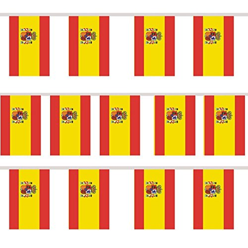TRIXES Wimpelgirlande mit 12 rechteckigen Spanien Flaggen für Nationale Feierlichkeiten und Sportevents