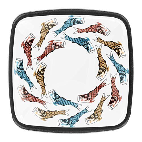 Koinobori (Serpentina de Carpas) Cometas de Peces Pomo,4 Piezas Tiradores de Muebles Perillas de Natural Perillas del Gabinete con Tornillo para Puertas Armarios de Cocina Tirador Cajones