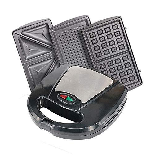 3-in-1 Sandwich Toaster, Waffle Maker & Grill, for Toasties, Paninis, Snacks & More, Non-Stick Interchangeable Plates, Can cook delicious crispy sandwich waffles