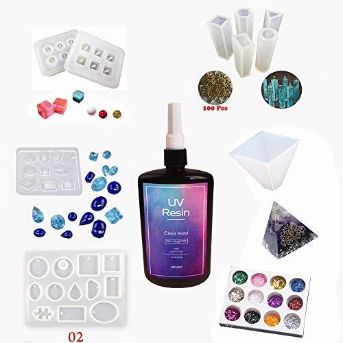 Kit Artesanía Resina Epoxi UV Transparente con Moldes, Curado 1 Minuto Nueva Fórmula 250g + 10 Moldes de silicona para Joyas Colgantes Pendientes Pirámides Decoraciones + 12 Purpurinas + 100 Ojales