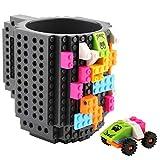 Coolty Tazza Mattoncini di Construire, Tazze di Taffè con 2 Blocks Compatibile con Lego, Idea Regalo di Natale (Grigio)