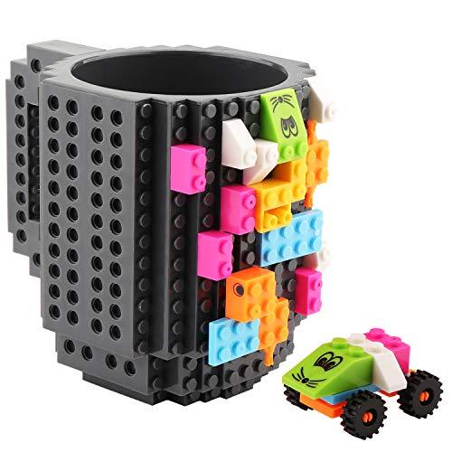 Coolty Build on Brick Tasse, DIY Neuheit Kaffeetasse mit 2 Pack Bausteine, Vatertag Weihnachten Geburtstag Geschenk Idee(Grau)