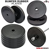 MAXSTRENGTH 2' Olympic Bumper Rubber Weight Plates Gym Body Building Muscles Strength 15kg 5cm (15kg x 2 = 30)