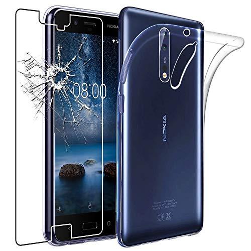 ebestStar - Cover Nokia Nokia 8 Custodia Trasparente Silicone Gel TPU Protezione Morbida e Sottile, Trasparente + Pellicola Vetro Temperato [Apparecchio: 151.5 x 73.7 x 7.9mm, 5.3'']