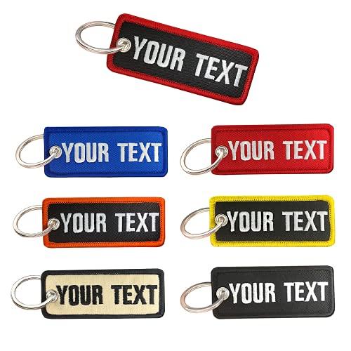 Portachiavi personalizzato, nome ricamo personalizzato numero di telefono tag chiave, portachiavi moto per auto donna uomo ATV