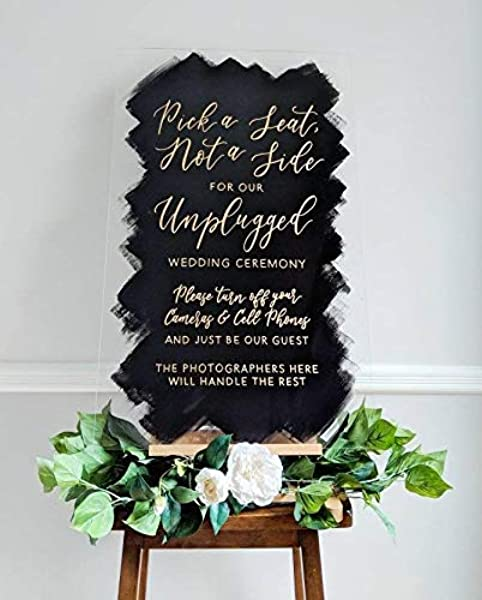 234Tiffany Unplugged Ceremony Sign Acrylic Sign Unplugged Wedding Back Printed Acrylic Sign Brushed Acrylic Wedding Ceremony Sign