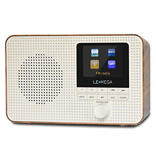 LEMEGA IR1 Tragbares Internetradio,digitales DAB+ & UKW Radio mit Bluetooth,2.4 Zoll Farbdisplay,Voreinstellungen,Kopfhöreranschluss, Wecker, Sleeptimer, 3 Watt RMS, Akku und Netzteil -Walnuss