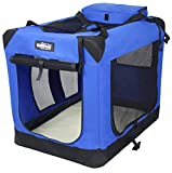 EliteField 3-Door Folding Soft Dog Crate, Indoor & Outdoor Pet Home, Multiple Sizes and Colors Available (24' L x 18' W x 21' H, Royal Blue)
