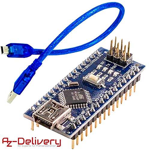 AZDelivery Nano V3 completamente soldado, versión mejorada con cable USB, 100% compatible con Arduino Nano V3